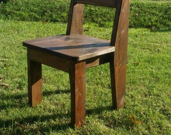 Rustic Finished Farmhouse Dining Pine Chair, Stocky Style