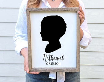 Fathers Day Gift from Kids Profile Silhouette on Wood Custom Silhouette from your photo Custom Silhouette Art Kid Silhouette Portrait Art