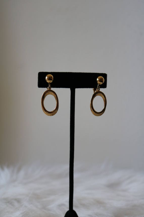 Gold Clip-Ons | minimalist dangle hald dome stud 80s 90s vintage clip on earrings jewelry minimal