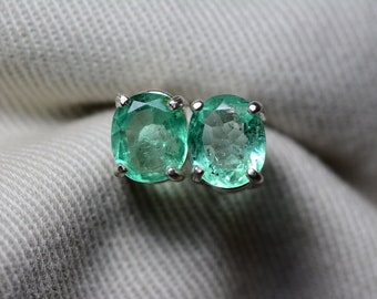 Emerald Earrings, Colombian Emerald Stud Earrings 1.72 Carats, Appraised at 1,400.00 Sterling Silver,Real Natural, May Birthstone, Oval Cut
