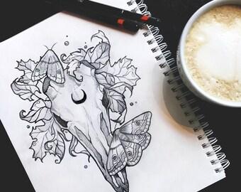Symphony of autumn skull tattoo design ravens grunge roses boho fantasy gothic occult sketch original art A5 (15x20 cm)