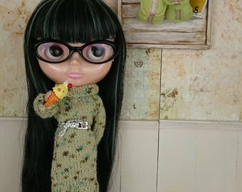 Elle family knit ooak blythe knit dress with belt herbal harmony fandeluxe Choice Image