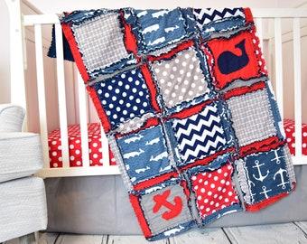 Nautical Bedding Boy Crib Bedding Set - Red / Navy / Gray - Anchor Crib Bedding - Whale Baby Bedding - Crib Blanket / Sheet / Skirt / Bumper