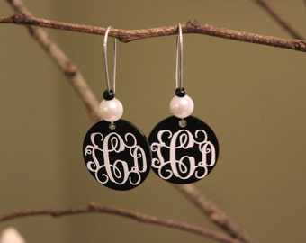 Monogrammed Earring, Custom Earrings, Initial Earrings, Vinyl Monogram Earrings, Personalized Disc Earrings, Great gift