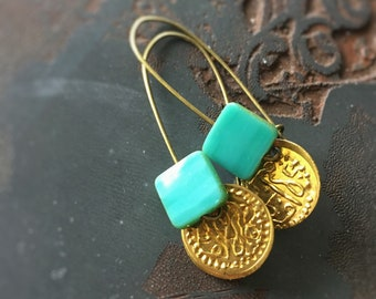 Turkish Delight Earrings - Vintage Bellydancer Brass and Turquoise Green Czech Glass