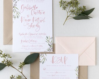 The Gabrielle - Olive Branch Watercolor Brush Lettered Wedding Invitation Suite
