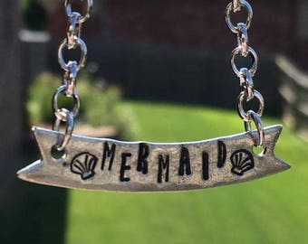 """Hand Stamped Pewter """"Mermaid"""" Banner Necklace"""