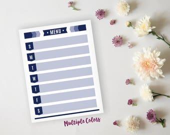 Printable Menu Planner - Modern Color Block Daily Meal Prep Sheet - Family Dinner Menu Planner - Printable Menu - Instant Download