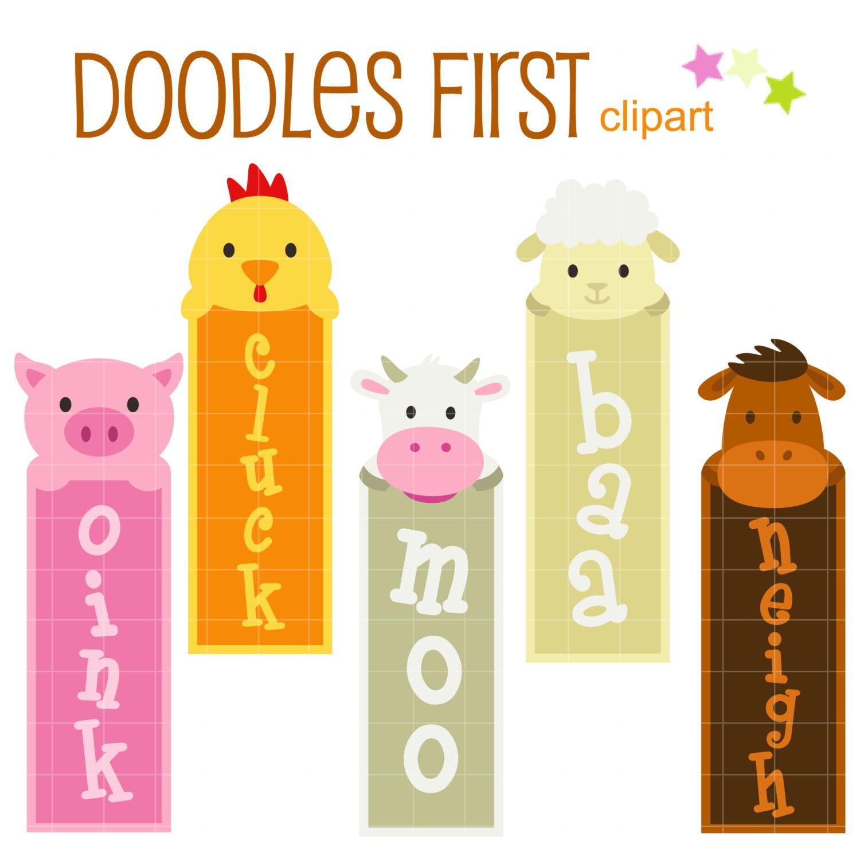 Cute Farm Animals Bookmarks Digital Clip Art for Scrapbooking