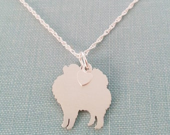 Pomeranian Necklace, Sterling Silver Personalize Pendant, Breed Silhouette Charm Rescue Shelter, Mothers Day Gift
