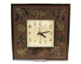 "General Electric Square Wall Clock, Keeps Perfect Time, 12"" Brown Decorative Clock with Leaf Pattern Border, 1960s 1970s GE Wall Clock"