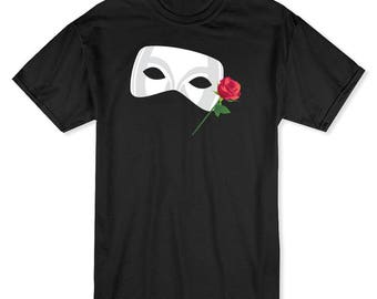 Theater Mask With Red Rose  Men's Black T-shirt