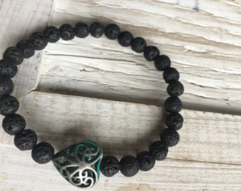 Essential oil diffuser bracelet, aromatherapy, lava beads