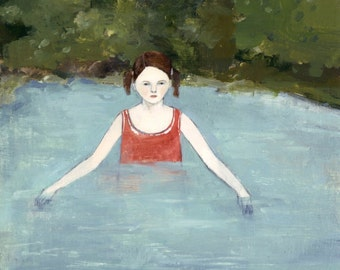 fine art print - natalie searched the waters for answers - giclee print of original oil painting