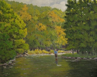 Fly fishing art, fisherman and trout, mountain paintings.