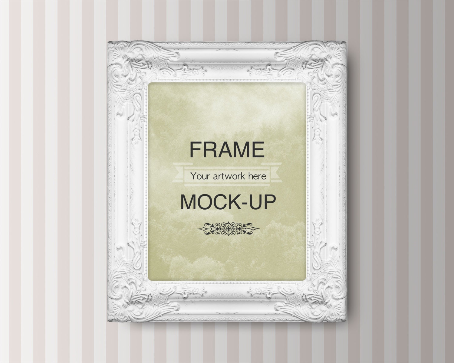 Frame mockup, digital frame, striped background, 8 x 10 inch, 4 x 5 ...