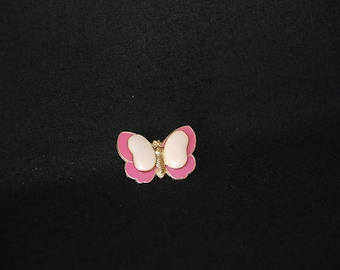 Butterfly pink brooch - vintage enamel gold tone metal brooch pin - butterfly jewelry - insect brooch sweater scarf hat pin - gift for her