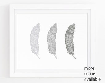 Silver wall decor, Gray wall art, Feather drawing, Wall pictures, Poster art, Wall artwork, Wall prints, Printable, 5x7, 8x10 & 11x14, 240c