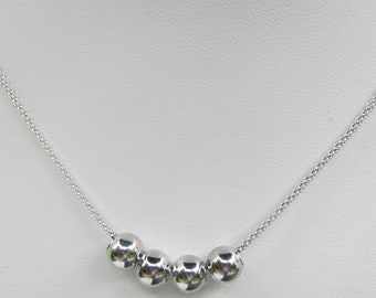 Sterling Silver Popcorn Chain Necklace with Sterling Ball Beads - 2922 J