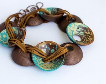 boho necklace copper necklace turquoise necklace round pendant necklace big pendant necklace copper boho necklace Polymer Clay necklace