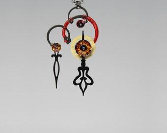 Swarovski Crystal Necklace, Steampunk Pendant, Volcano Swarovski Crystals, Red Necklace, Bridal Jewelry, Clock Parts, Hades v10