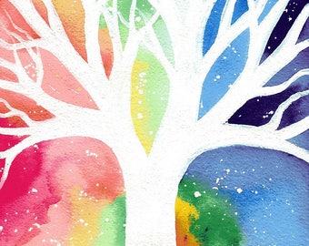 Beneath the wild sky - original white tree rainbow sky watercolour painting by klbaileyart
