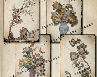 Antique Style Birds and Flowers 3.5 x 5 inch tags Downloadable Collage Sheet Printable Scrapbook Paper Crafts