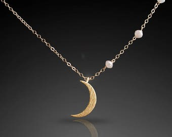 NEW! - CUSTOM Made to Order: Create Your Own Moon & Stars Necklace with Natural Gray-White Diamonds
