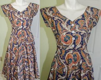 Vintage 1940's Paisely Print Cotton Day Dress