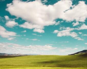 """colorful landscape wall art, landscape photography, large wall art, large art, colorful landscape art, summer, clouds, art - """"On the Plains"""""""