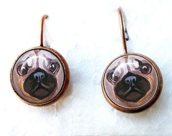 Pug boucles d'oreilles ~ fauve Pug bijoux ~ cadeau fête des mères ~ cadeaux pour elle ~ prêt à être expédier ~ boucles d'oreilles ~ Pug Portrait ~ Pug cadeau d'amant