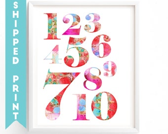PRINT Numbers print, Counting Print, 1- 10 Learning To Count, Nursery Wall Art,