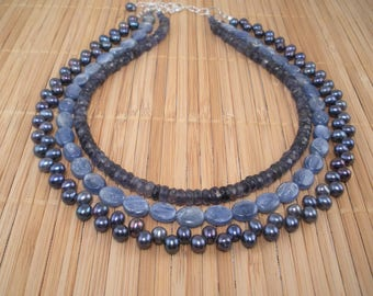 Blue Kyanite Necklace Freshwater Pearls Tiered Necklace Blue Pearl Multistrand Necklace Blue Gemstone Shimmery Blue Silver 3 Strand Necklace