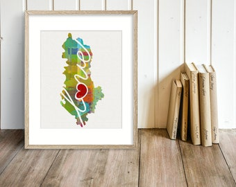 Albania Love - Colorful Watercolor Style Wall Art Print & Home Country Map Artwork - Adoption, Moving, Engagement, Wedding Gift and More