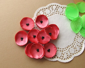Mini satin appliques, handmade fabric sew on flowers, flower appliques, tiny fabric flowers, wedding bulk flowers(10pcs)- CORAL PINK POPPIES