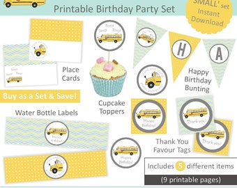 Yellow Wheels on the Bus Party Set small - Instant Download printable birthday party package; bunting, cupcake topper, place cards, labels