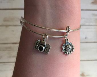 Bangle Charm Bracelet, Camera Charm, Flower Charm, Bangle Bracelets, Handmade Jewelry, Bangles