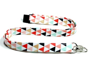 Coral and Gold Tribal Triangles Fabric Lanyard,  Breakaway Lanyard Option,  Double Breakaway or Detachable Lanyard or Key Fob Wristlet.
