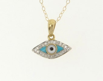 Evil Eye Necklace 14K Gold And Diamonds, Set With Turquoise And Mother of Pearl - Yellow Gold, White Gold, or Rose Gold
