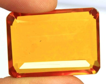 112.00Ct Certified Emerald Cut Brazilian Sizzling Yellow Citrine Loose Gemstone ET203