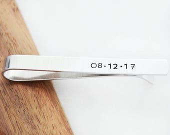 Tie Bar Personalized - Custom Tie Bar Clip - Valentine's Day Gifts for Dad - Secret Message Tie Bar - Gifts for Men - Custom Date Gift