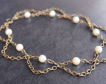 Boho Anklet with Swarovski Pearls