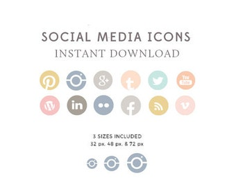 Feminine Social Media Icons - Website and Blog Icons - Blog Buttons - Multi Color Icons - Social Media - INSTANT DOWNLOAD