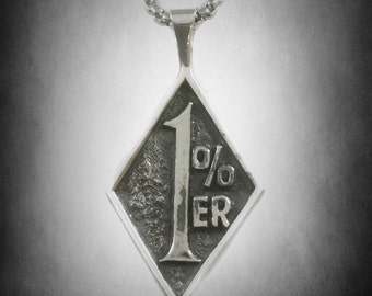 1 PERCENT er pendant sterling silver  harley  BIKER OUTLAW mint 925