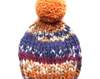 Knit Hat, Pom Pom Hat, Orange Knit Hat, Orange and Purple Pom Pom Hat, Colorful Knit Hat, Knit Beanie, Mommy & Me Hat, Fall Hat, Winter Hat
