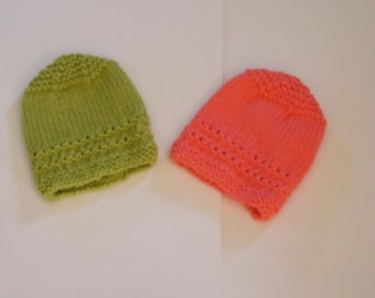 Hand Knitted -  Lime Green or Coral Baby Hat
