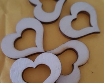 Small wooden heart embellishments