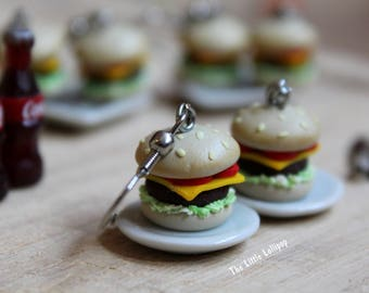 Hamburger Earrings - Fimo Food