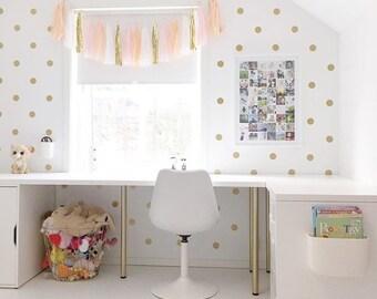 Peel and Stick Metallic Gold Polka Dot Wall Decals | Long Life | Apartment Safe