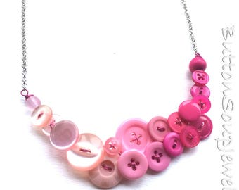 Ombre Pink Vintage Button Fashion Necklace - Shades of Pink